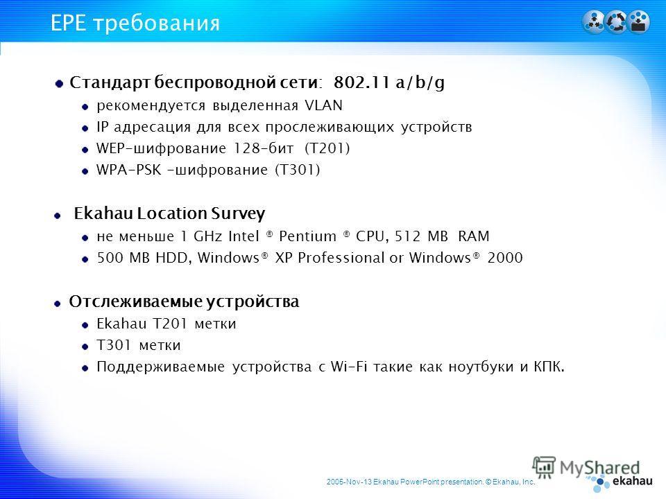 2005-Nov-13 Ekahau PowerPoint presentation. © Ekahau, Inc. EPE требования Стандарт беспроводной сети: 802.11 a/b/g рекомендуется выделенная VLAN IP адресация для всех прослеживающих устройств WEP-шифрование 128-бит (T201) WPA-PSK -шифрование (T301) E
