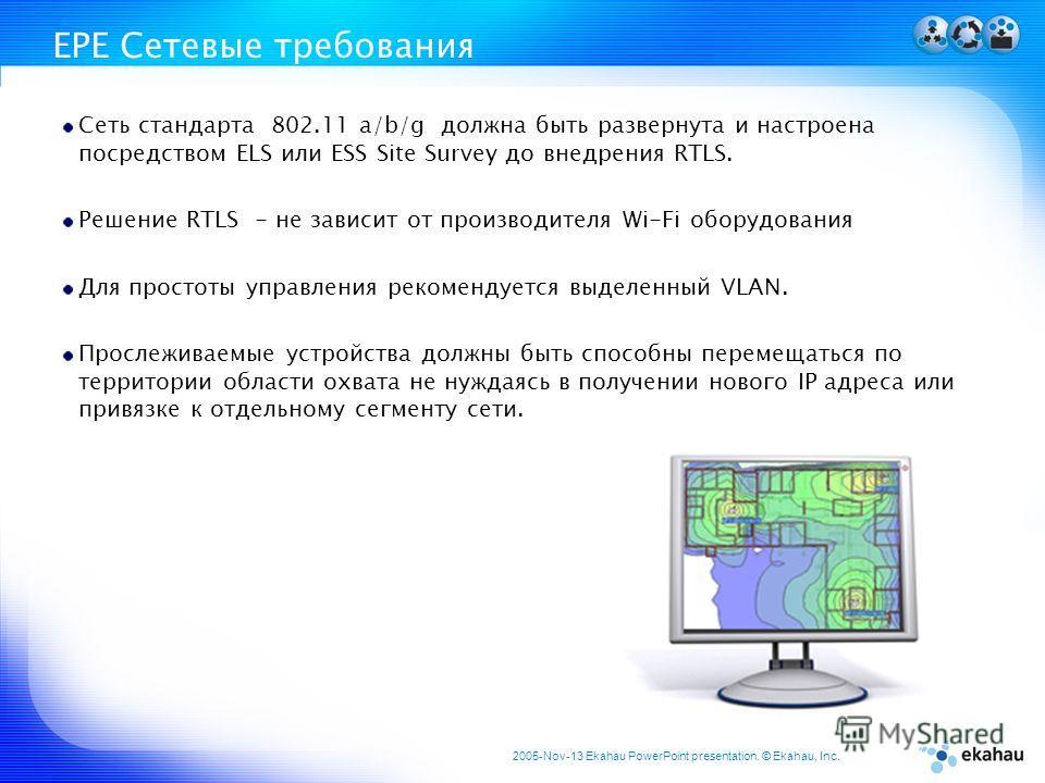 2005-Nov-13 Ekahau PowerPoint presentation. © Ekahau, Inc. EPE Сетевые требования Сеть стандарта 802.11 a/b/g должна быть развернута и настроена посредством ELS или ESS Site Survey до внедрения RTLS. Решение RTLS - не зависит от производителя Wi-Fi о