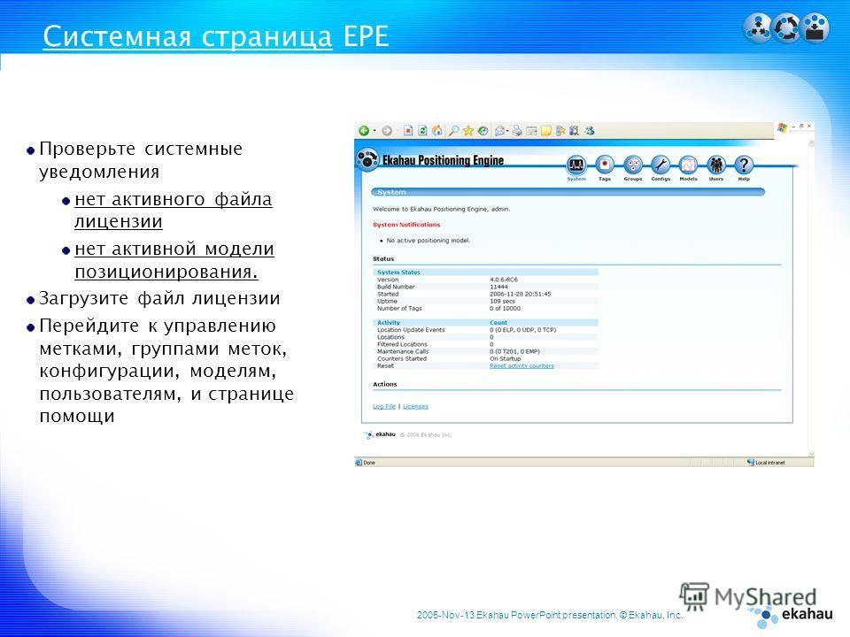 2005-Nov-13 Ekahau PowerPoint presentation. © Ekahau, Inc. Системная страница EPE Проверьте системные уведомления нет активного файла лицензии нет активной модели позиционирования. Загрузите файл лицензии Перейдите к управлению метками, группами мето