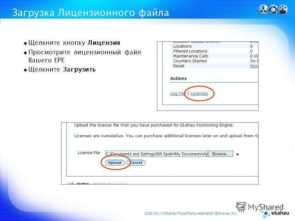 2005-Nov-13 Ekahau PowerPoint presentation. © Ekahau, Inc. Загрузка Лицензионного файла Щелкните кнопку Лицензия Просмотрите лицензионный файл Вашего EPE Щелкните Загрузить