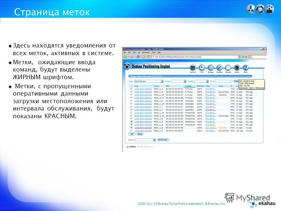 2005-Nov-13 Ekahau PowerPoint presentation. © Ekahau, Inc. Страница меток Здесь находятся уведомления от всех меток, активных в системе. Метки, ожидающие ввода команд, будут выделены ЖИРНЫМ шрифтом. Метки, с пропущенными оперативными данными загрузки