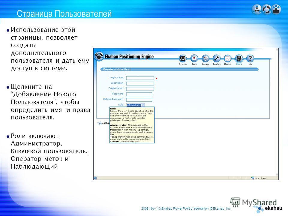 2005-Nov-13 Ekahau PowerPoint presentation. © Ekahau, Inc. Страница Пользователей Использование этой страницы, позволяет создать дополнительного пользователя и дать ему доступ к системе. Щелкните на Добавление Нового Пользователя, чтобы определить им