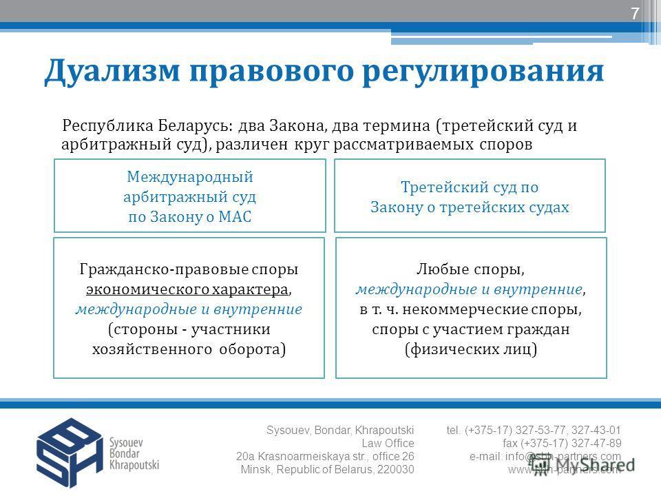 Республика Беларусь: два Закона, два термина (третейский суд и арбитражный суд), различен круг рассматриваемых споров 7 Международный арбитражный суд по Закону о МАС Третейский суд по Закону о третейских судах Гражданско-правовые споры экономического