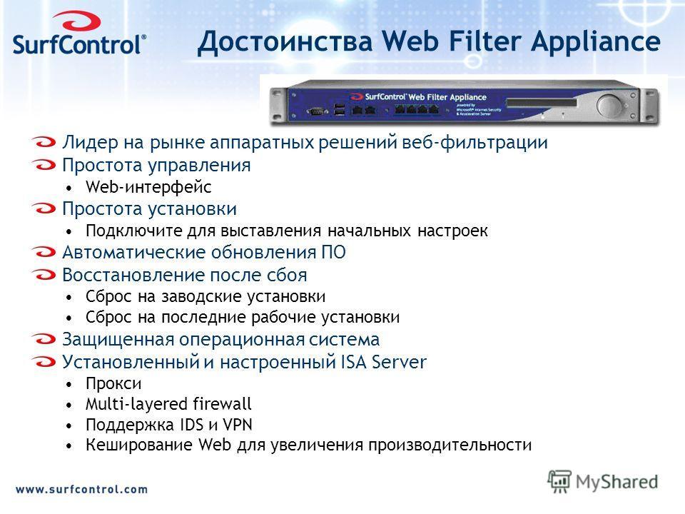 Достоинства Web Filter Appliance Лидер на рынке аппаратных решений веб-фильтрации Простота управления Web-интерфейс Простота установки Подключите для выставления начальных настроек Автоматические обновления ПО Восстановление после сбоя Сброс на завод