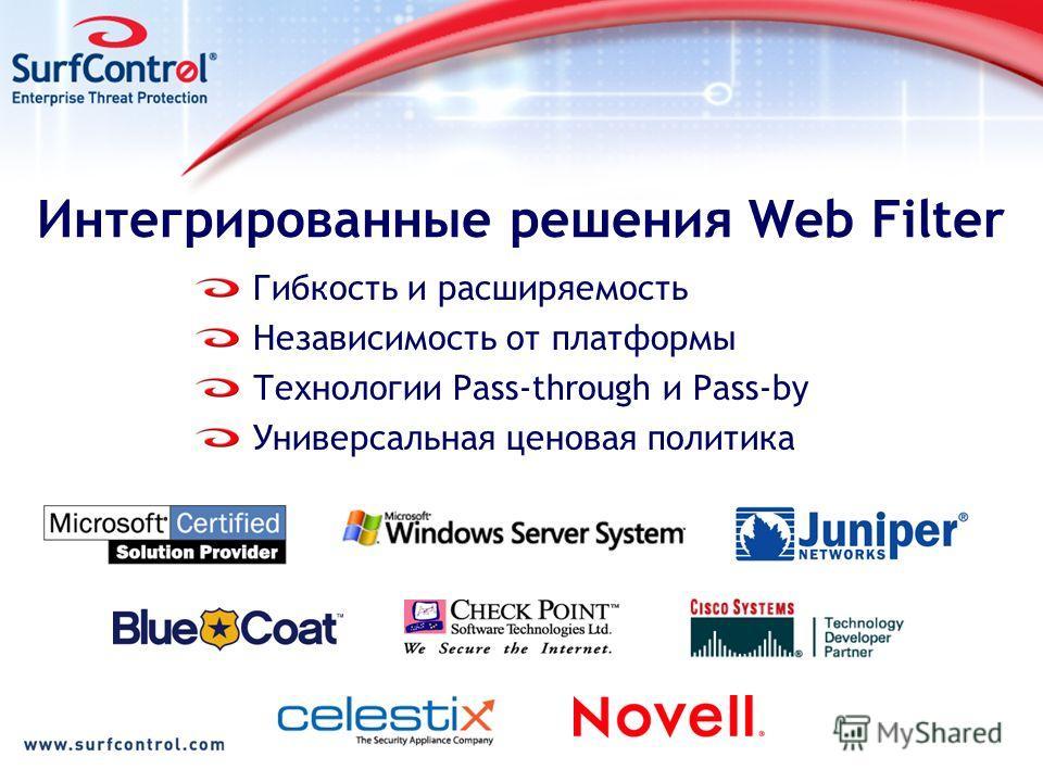 Интегрированные решения Web Filter Гибкость и расширяемость Независимость от платформы Технологии Pass-through и Pass-by Универсальная ценовая политика