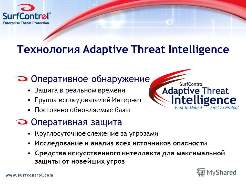 Технология Adaptive Threat Intelligence Оперативное обнаружение Защита в реальном времени Группа исследователей Интернет Постоянно обновляемые базы Оперативная защита Круглосуточное слежение за угрозами Исследование и анализ всех источников опасности