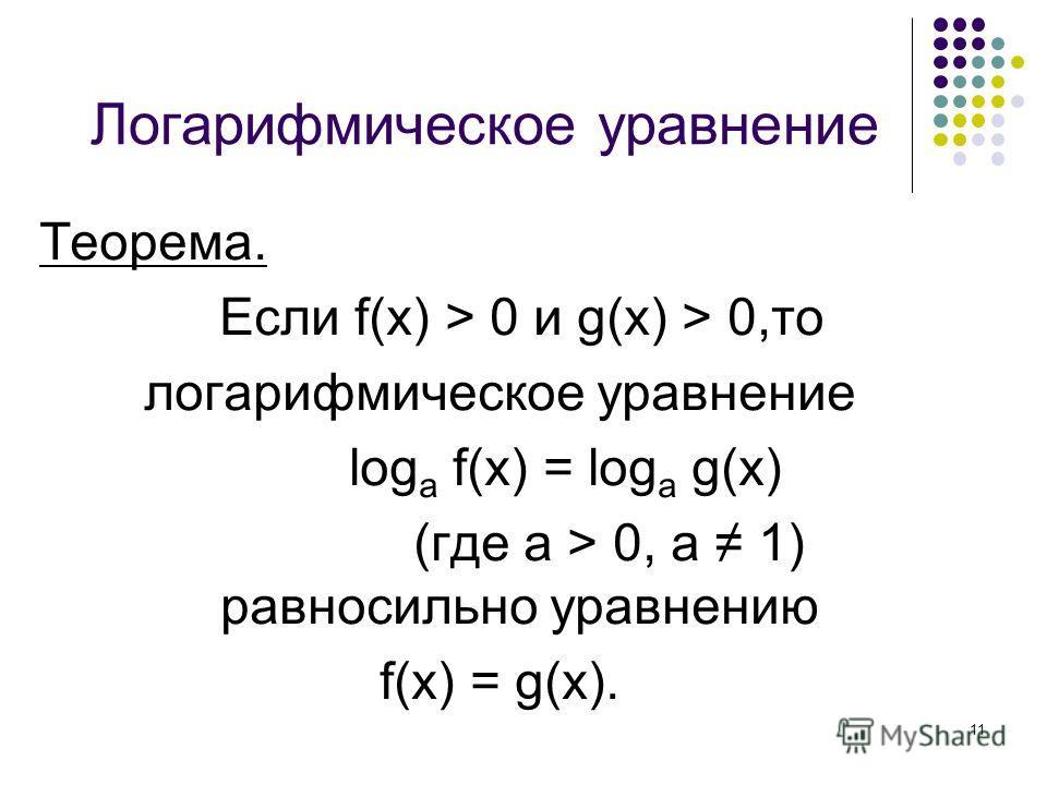 11 Логарифмическое уравнение Теорема. Если f(x) > 0 и g(x) > 0,то логарифмическое уравнение log a f(x) = log a g(x) (где а > 0, а 1) равносильно уравнению f(x) = g(x).