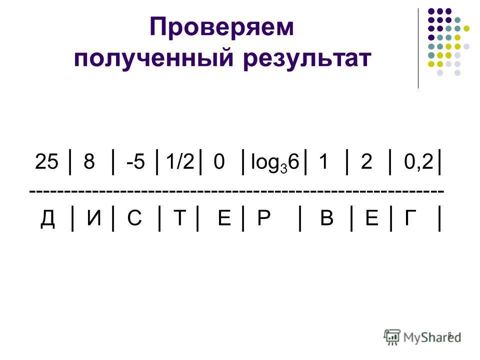 Проверяем полученный результат 25 8 -5 1/2 0 log 3 6 1 2 0,2 ----------------------------------------------------------- Д И С Т Е Р В Е Г 8