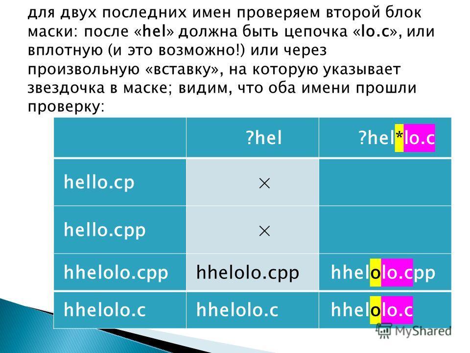 для двух последних имен проверяем второй блок маски: после «hel» должна быть цепочка «lo.c», или вплотную (и это возможно!) или через произвольную «вставку», на которую указывает звездочка в маске; видим, что оба имени прошли проверку: ?hel?hel*lo.c