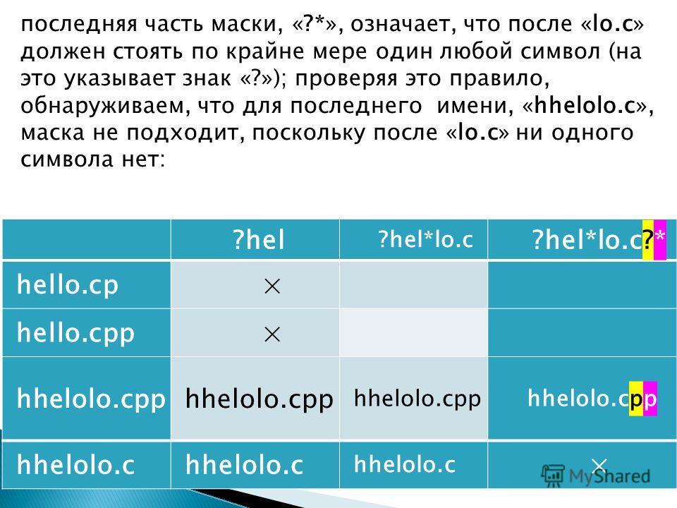 последняя часть маски, «?*», означает, что после «lo.c» должен стоять по крайне мере один любой символ (на это указывает знак «?»); проверяя это правило, обнаруживаем, что для последнего имени, «hhelolo.c», маска не подходит, поскольку после «lo.c» н