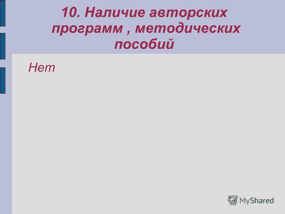10. Наличие авторских программ, методических пособий Нет