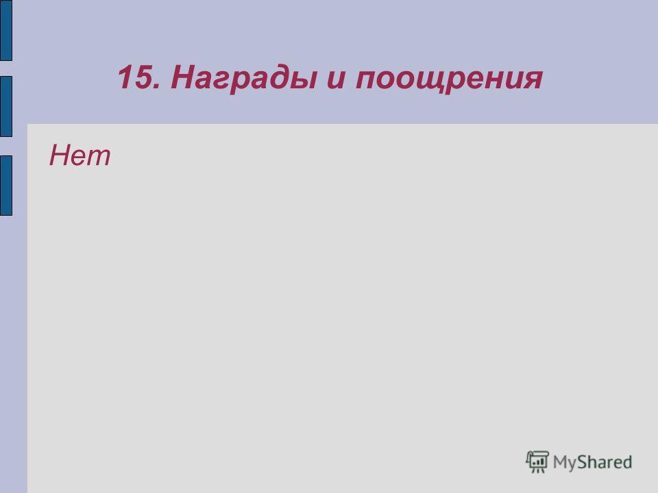15. Награды и поощрения Нет