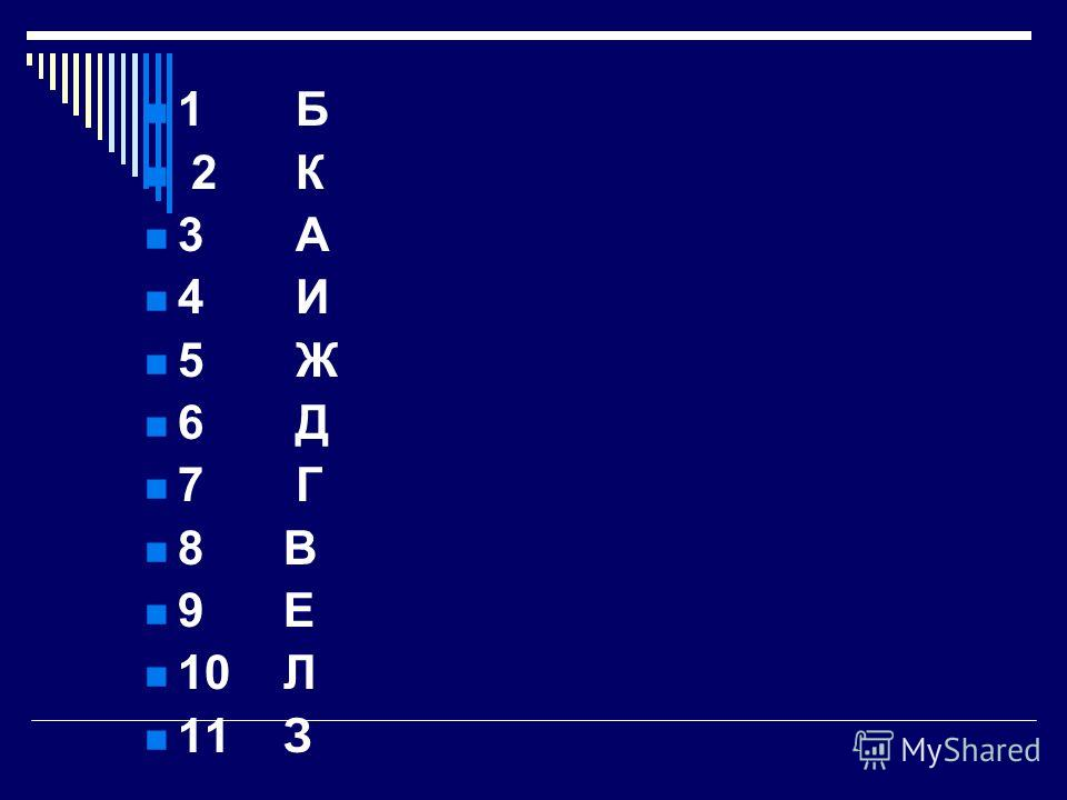 1 Б 2 К 3 А 4 И 5 Ж 6 Д 7 Г 8 В 9 Е 10 Л 11 З