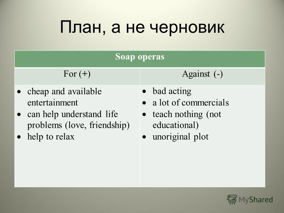 План, а не черновик Soap operas For (+) Against (-) cheap and available entertainment can help understand life problems (love, friendship) help to relax bad acting a lot of commercials teach nothing (not educational) unoriginal plot Soap operas For (