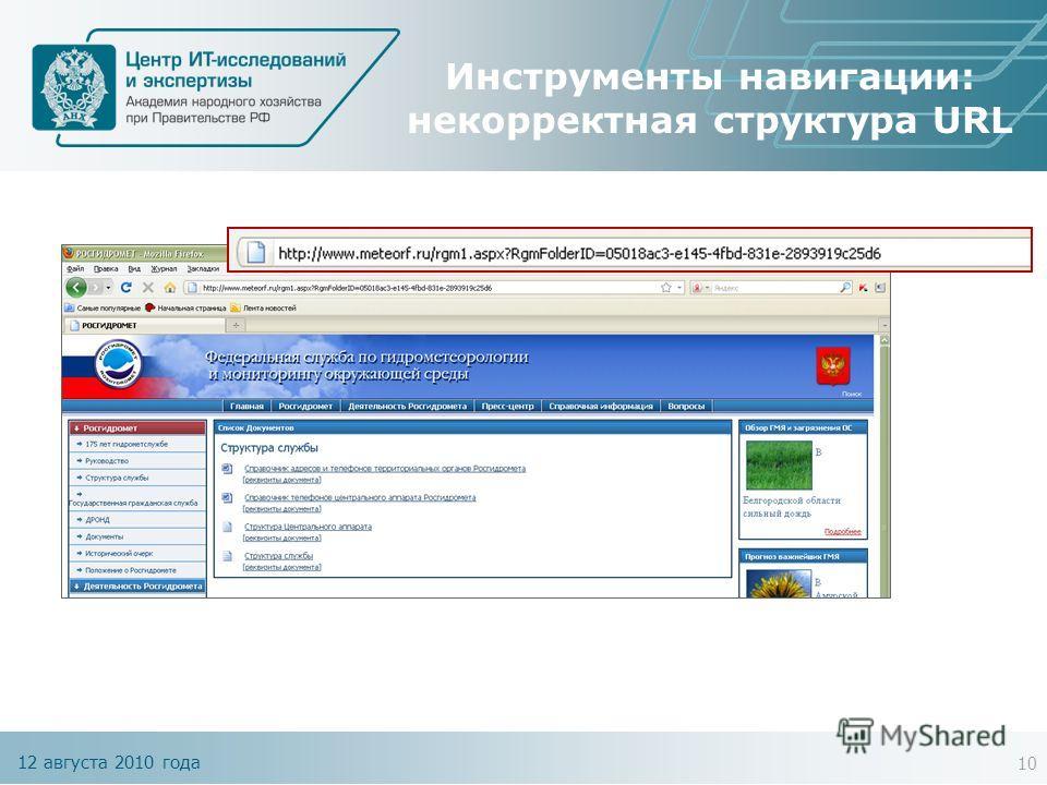 12 августа 2010 года Инструменты навигации: некорректная структура URL 10