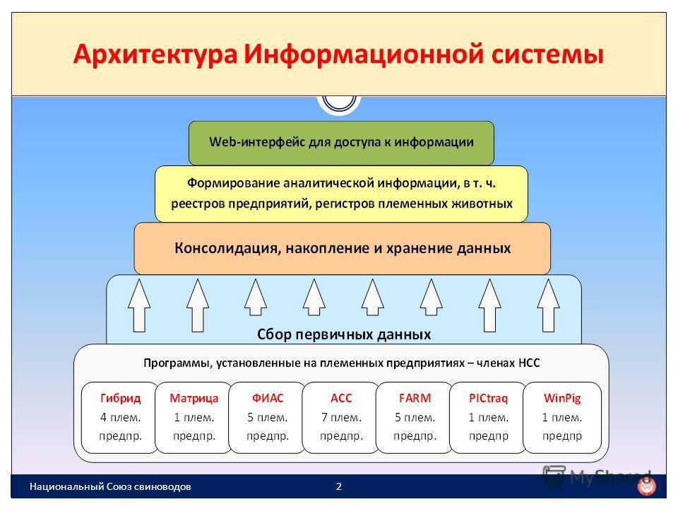 В базе данных ИСНСС более 280 000 животных ИСНСС объединяет 6 типов информационных систем уровня предприятия Каждую неделю собираются данные из 54 субъектов племенного животноводства (стада) Система имеет Web-интерфейс www.isnss.ru, т.е. доступ в нее
