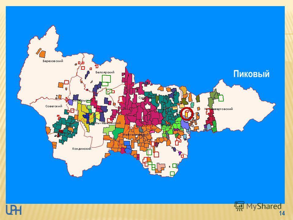 13 - магистральный нефтепровод – 176 км - Ханты-Мансийский, Белоярский и Сургутский районы ХМАО-Югры - Ляминский НГР Фроловской НГО - пробурена 1 скважина - плотность сейсмопрофилей - 0,47 км/км 2 С 3 – 4,084 млн.т. Извлекаемые перспективные ресурсы