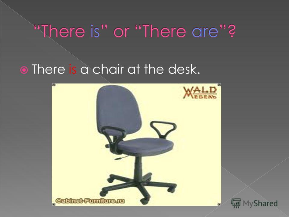 There is a chair at the desk.