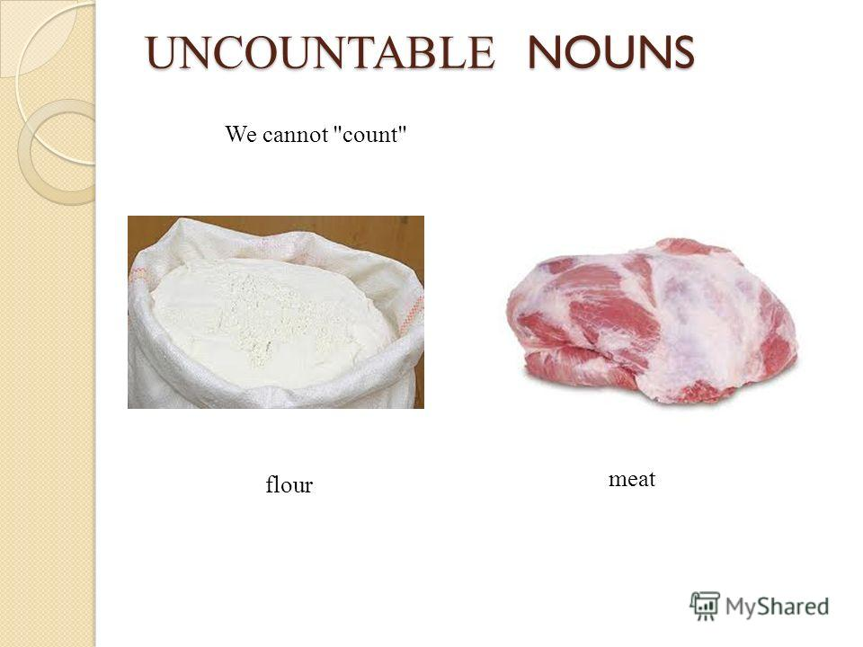 UNCOUNTABLE NOUNS We cannot count flour meat