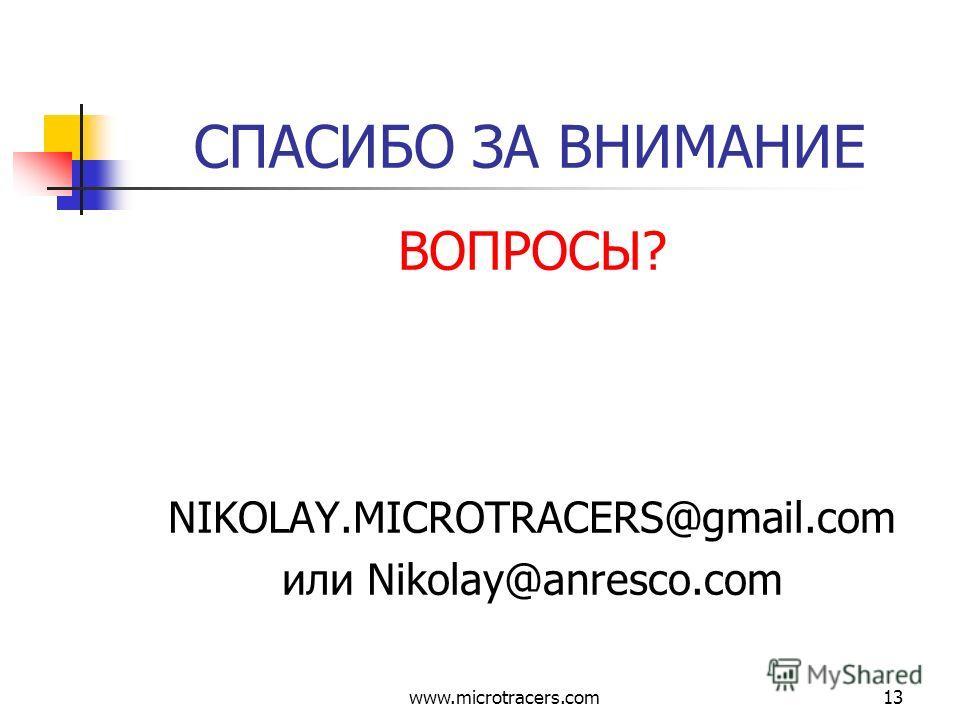 www.microtracers.com13 СПАСИБО ЗА ВНИМАНИЕ ВОПРОСЫ? NIKOLAY.MICROTRACERS@gmail.com или Nikolay@anresco.com