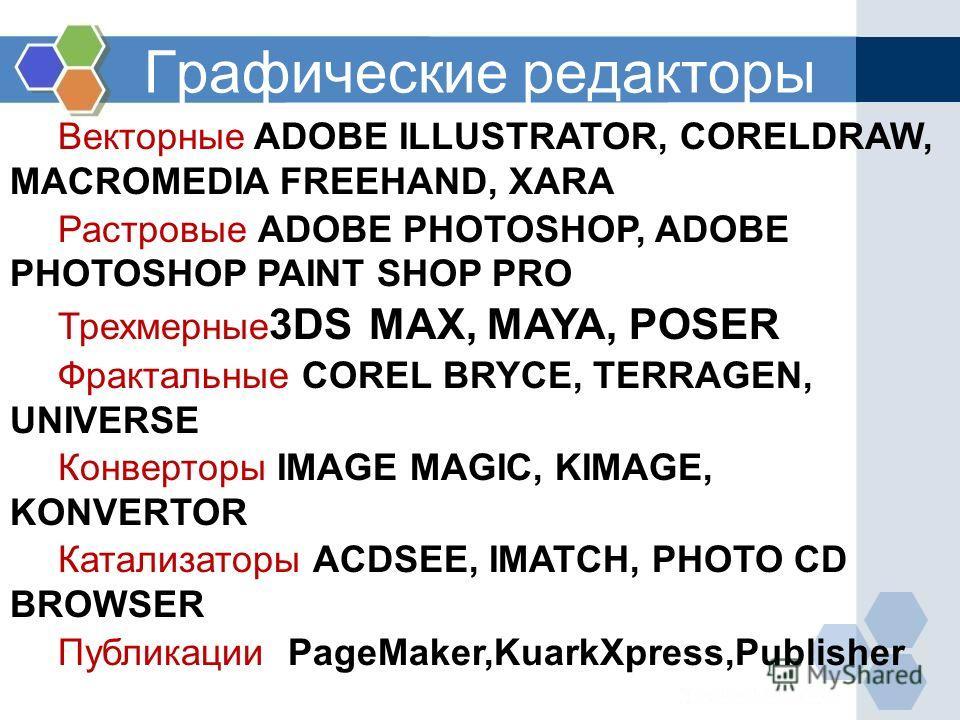 Графические редакторы Векторные ADOBE ILLUSTRATOR, CORELDRAW, MACROMEDIA FREEHAND, XARA Растровые ADOBE PHOTOSHOP, ADOBE PHOTOSHOP PAINT SHOP PRO Трехмерные 3DS MAX, MAYA, POSER Фрактальные COREL BRYCE, TERRAGEN, UNIVERSE Конверторы IMAGE MAGIC, KIMA