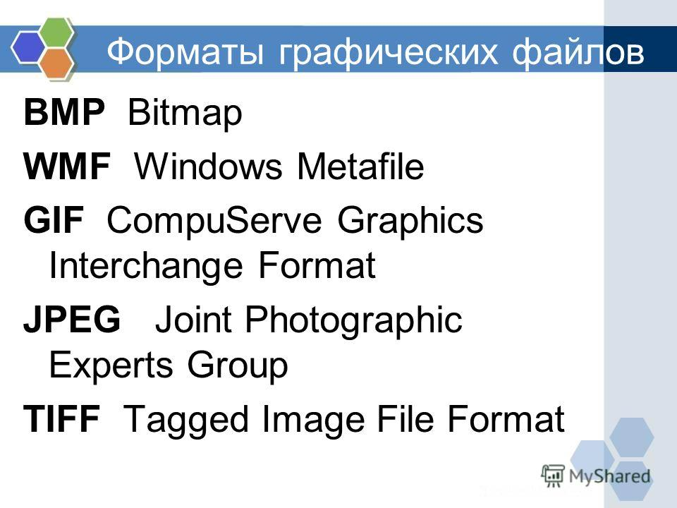 Форматы графических файлов BMP Bitmap WMF Windows Metafile GIF CompuServe Graphics Interchange Format JPEG Joint Photographic Experts Group TIFF Tagged Image File Format