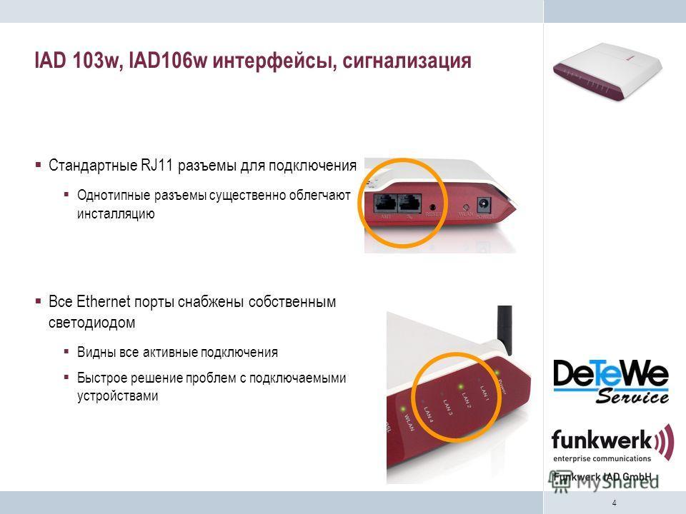 4 IAD 103w, IAD106w интерфейсы, сигнализация Стандартные RJ11 разъемы для подключения Однотипные разъемы существенно облегчают инсталляцию Все Ethernet порты снабжены собственным светодиодом Видны все активные подключения Быстрое решение проблем с по