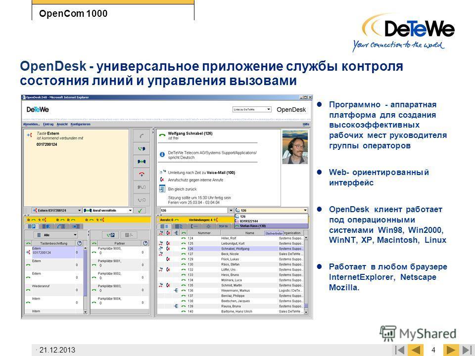 · 21.12.20134 OpenCom 1000 OpenDesk - универсальное приложение службы контроля состояния линий и управления вызовами Программно - аппаратная платформа для создания высокоэффективных рабочих мест руководителя группы операторов Web- ориентированный инт