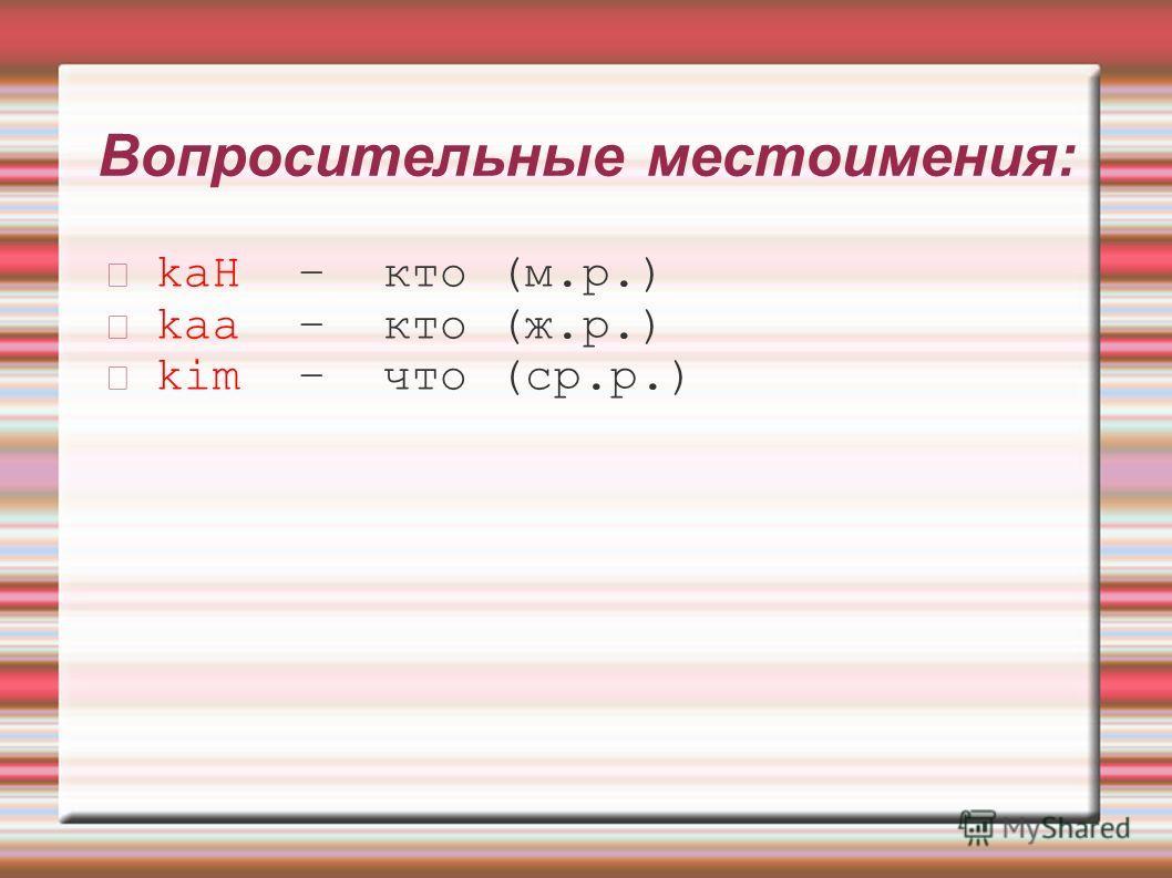 Вопросительные местоимения: kaH – кто (м.р.) kaa – кто (ж.р.) kim – что (ср.р.)