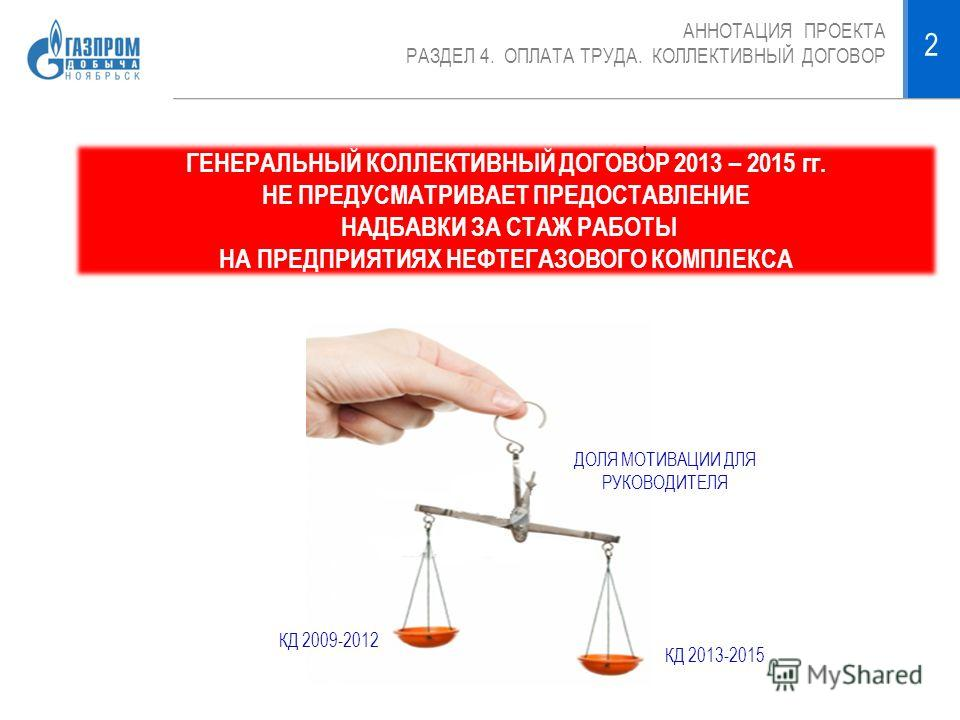 АННОТАЦИЯ ПРОЕКТА РАЗДЕЛ 4. ОПЛАТА ТРУДА. КОЛЛЕКТИВНЫЙ ДОГОВОР 2 ГЕНЕРАЛЬНЫЙ КОЛЛЕКТИВНЫЙ ДОГОВОР 2013 – 2015 гг. НЕ ПРЕДУСМАТРИВАЕТ ПРЕДОСТАВЛЕНИЕ НАДБАВКИ ЗА СТАЖ РАБОТЫ НА ПРЕДПРИЯТИЯХ НЕФТЕГАЗОВОГО КОМПЛЕКСА ! КД 2009-2012 ДОЛЯ МОТИВАЦИИ ДЛЯ РУКО