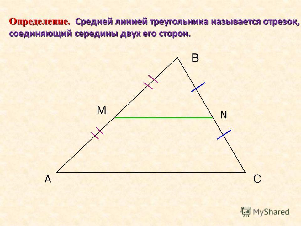 Определение. Средней линией треугольника называется отрезок, соединяющий середины двух его сторон. А В С M N