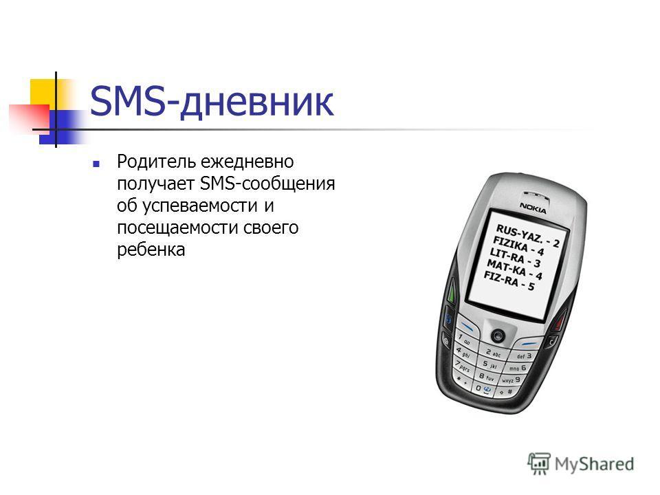 SMS-дневник Родитель ежедневно получает SMS-сообщения об успеваемости и посещаемости своего ребенка