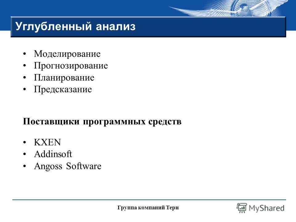 Группа компаний Терн Углубленный анализ Моделирование Прогнозирование Планирование Предсказание Поставщики программных средств KXEN Addinsoft Angoss Software