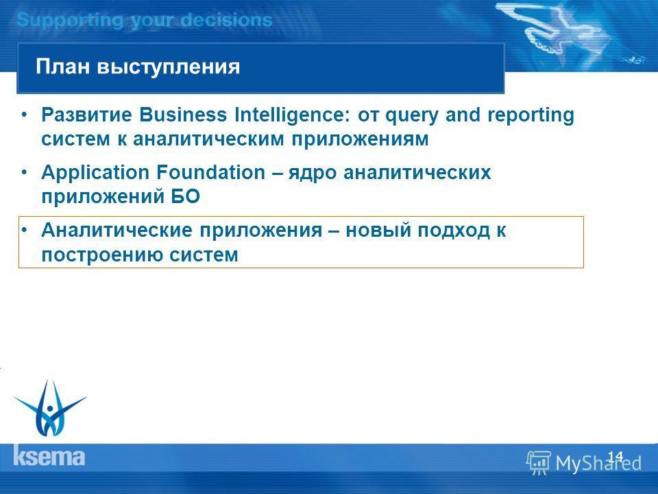 14 План выступления Развитие Business Intelligence: от query and reporting систем к аналитическим приложениям Application Foundation – ядро аналитических приложений БО Аналитические приложения – новый подход к построению систем