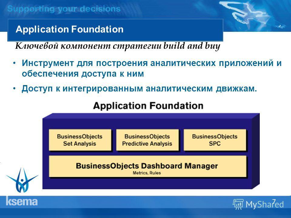 7 Application Foundation Ключевой компонент стратегии build and buy Инструмент для построения аналитических приложений и обеспечения доступа к ним Доступ к интегрированным аналитическим движкам.