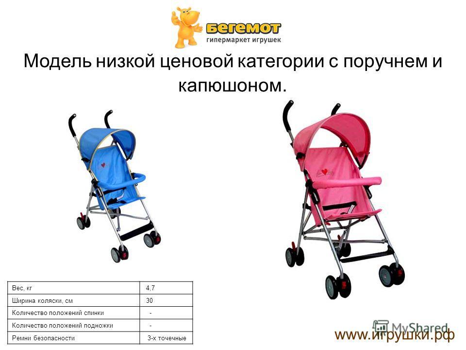 Модель низкой ценовой категории с поручнем и капюшоном. www.игрушки.рф Вес, кг 4,7 Ширина коляски, см 30 Количество положений спинки - Количество положений подножки - Ремни безопасности 3-х точечные