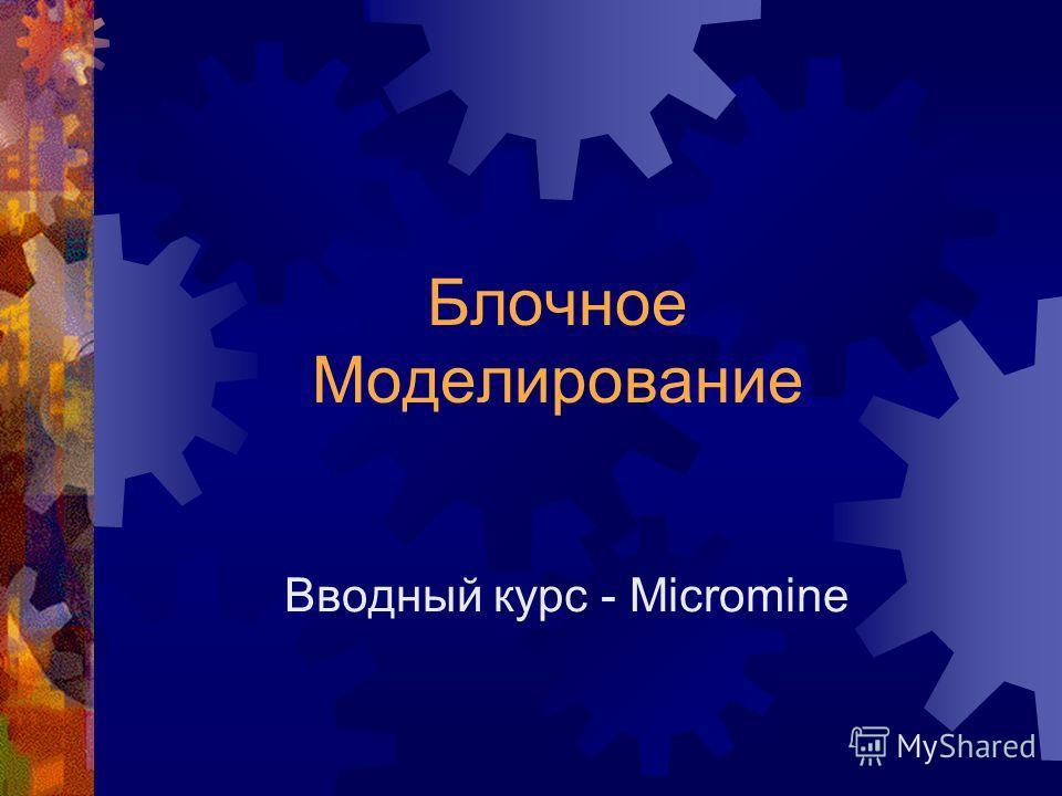 Вводный курс - Micromine Блочное Моделирование