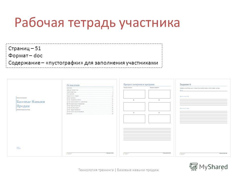 Рабочая тетрадь участника Страниц – 51 Формат – doc Содержание – «пустографки» для заполнения участниками 7Технология тренинга | Базовые навыки продаж