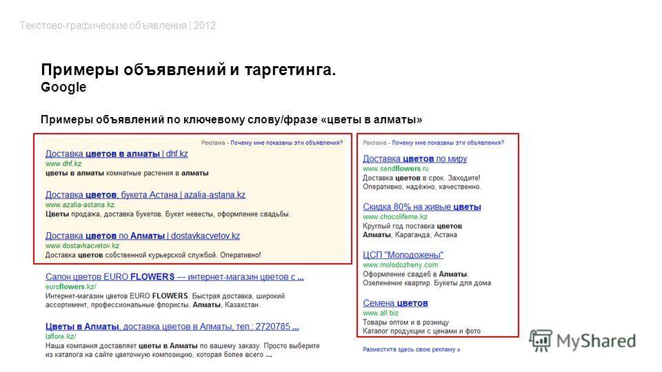 Примеры объявлений и таргетинга. Google Текстово-графические объявления | 2012 Примеры объявлений по ключевому слову/фразе «цветы в алматы»