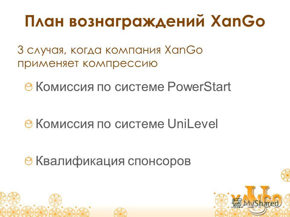 План вознаграждений XanGo Комиссия по системе PowerStart Комиссия по системе UniLevel Квалификация спонсоров 3 случая, когда компания XanGo применяет компрессию
