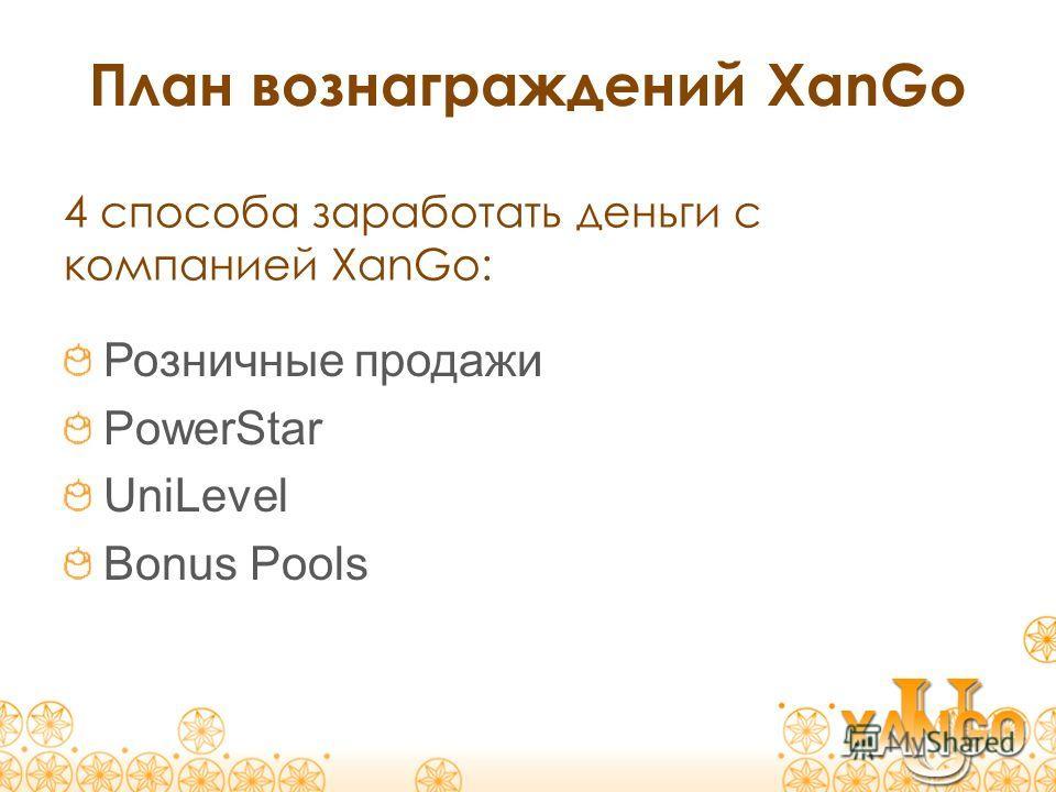 План вознаграждений XanGo Розничные продажи PowerStar UniLevel Bonus Pools 4 способа заработать деньги с компанией XanGo:
