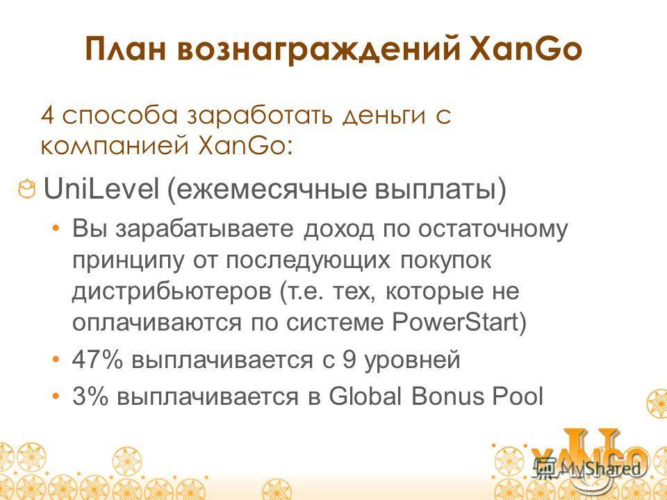 План вознаграждений XanGo UniLevel (ежемесячные выплаты) Вы зарабатываете доход по остаточному принципу от последующих покупок дистрибьютеров (т.е. тех, которые не оплачиваются по системе PowerStart) 47% выплачивается c 9 уровней 3% выплачивается в G