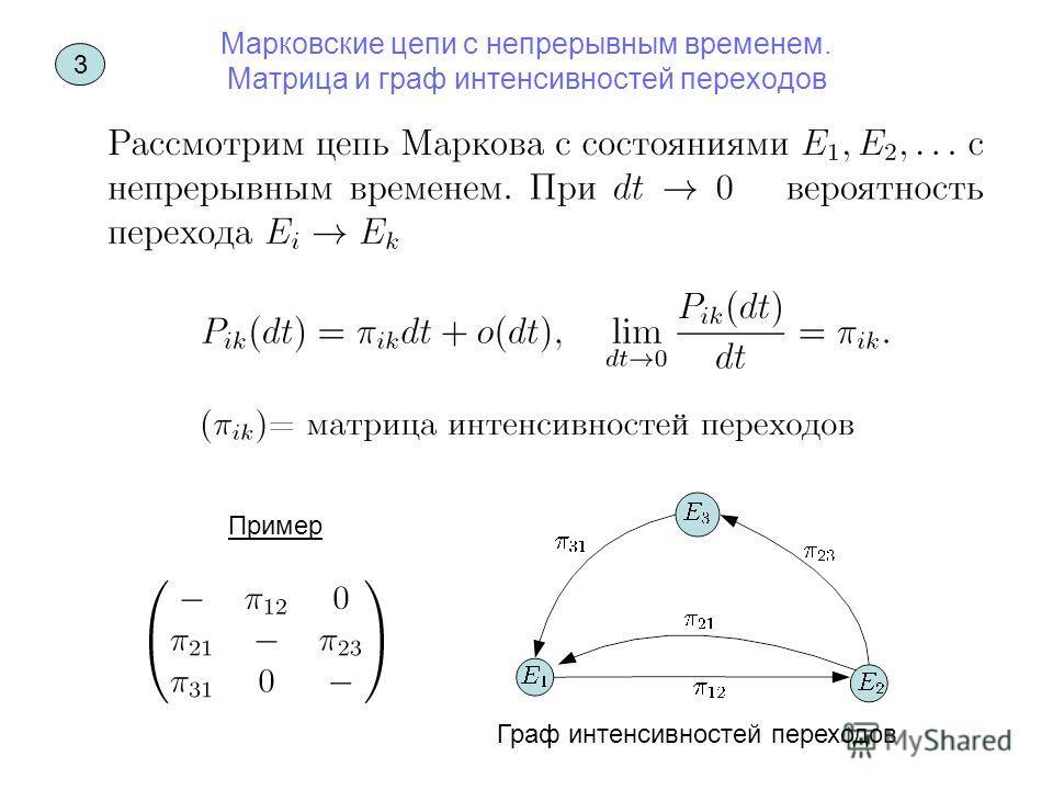 Марковские цепи с непрерывным временем. Матрица и граф интенсивностей переходов Пример Граф интенсивностей переходов 3