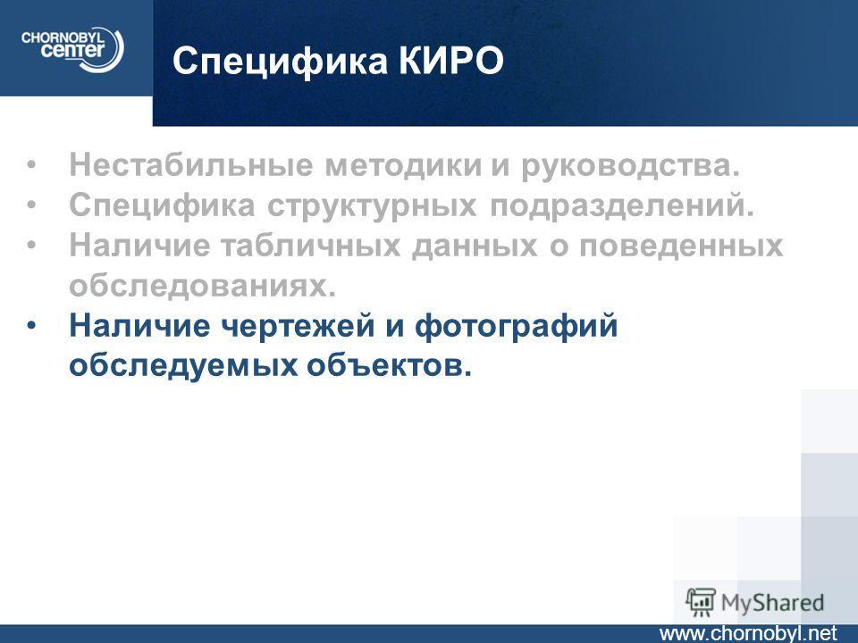 Специфика КИРО www.chornobyl.net Нестабильные методики и руководства. Специфика структурных подразделений. Наличие табличных данных о поведенных обследованиях. Наличие чертежей и фотографий обследуемых объектов. Необходимость построения динамических