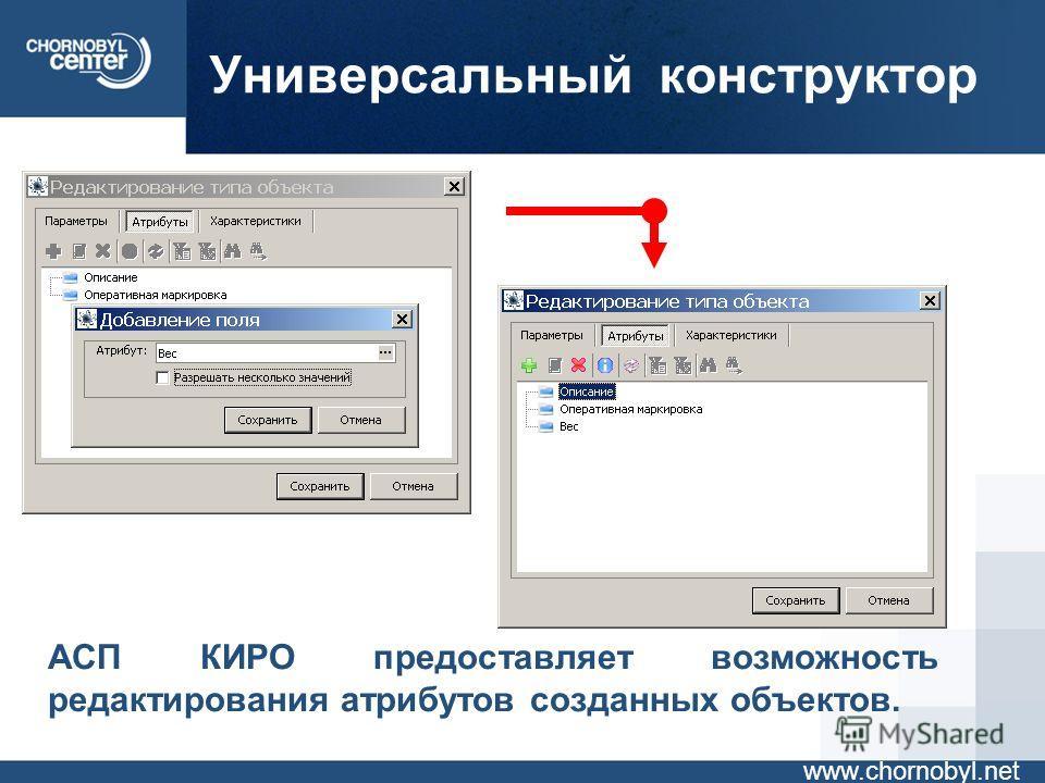 Универсальный конструктор www.chornobyl.net АСП КИРО предоставляет возможность редактирования атрибутов созданных объектов.
