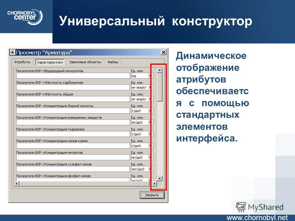 Универсальный конструктор www.chornobyl.net Динамическое отображение атрибутов обеспечиваетс я с помощью стандартных элементов интерфейса.