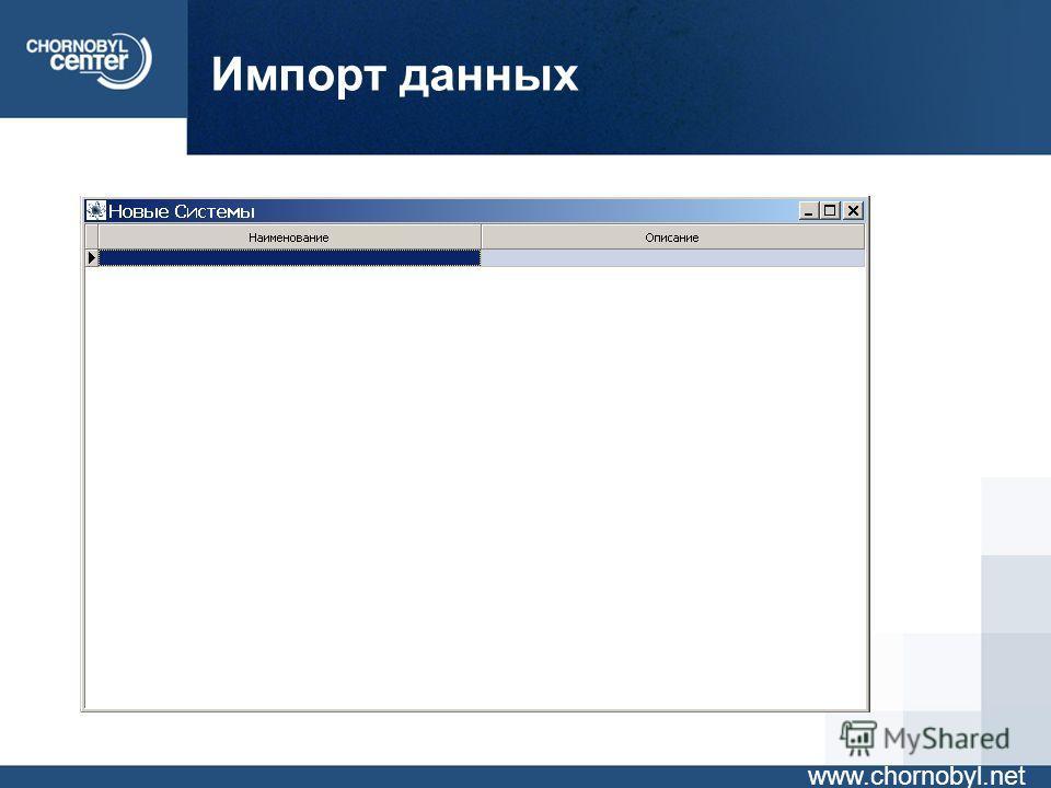 Импорт данных www.chornobyl.net