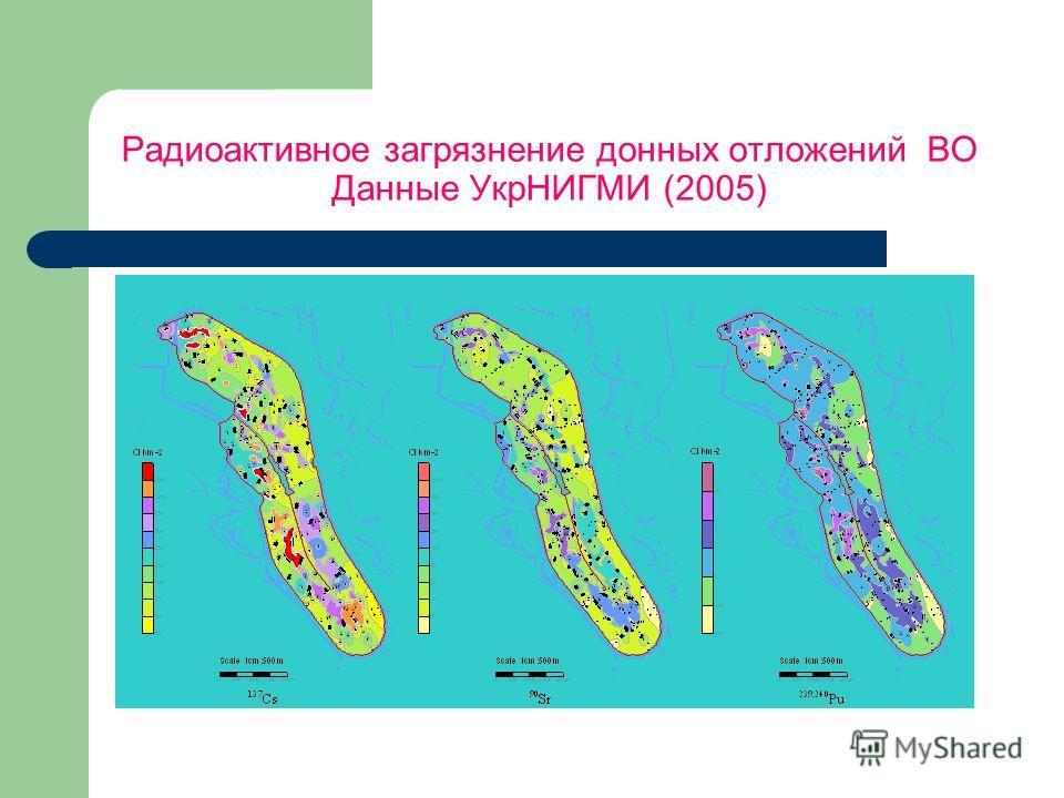 Радиоактивное загрязнение донных отложений ВО Данные УкрНИГМИ (2005)