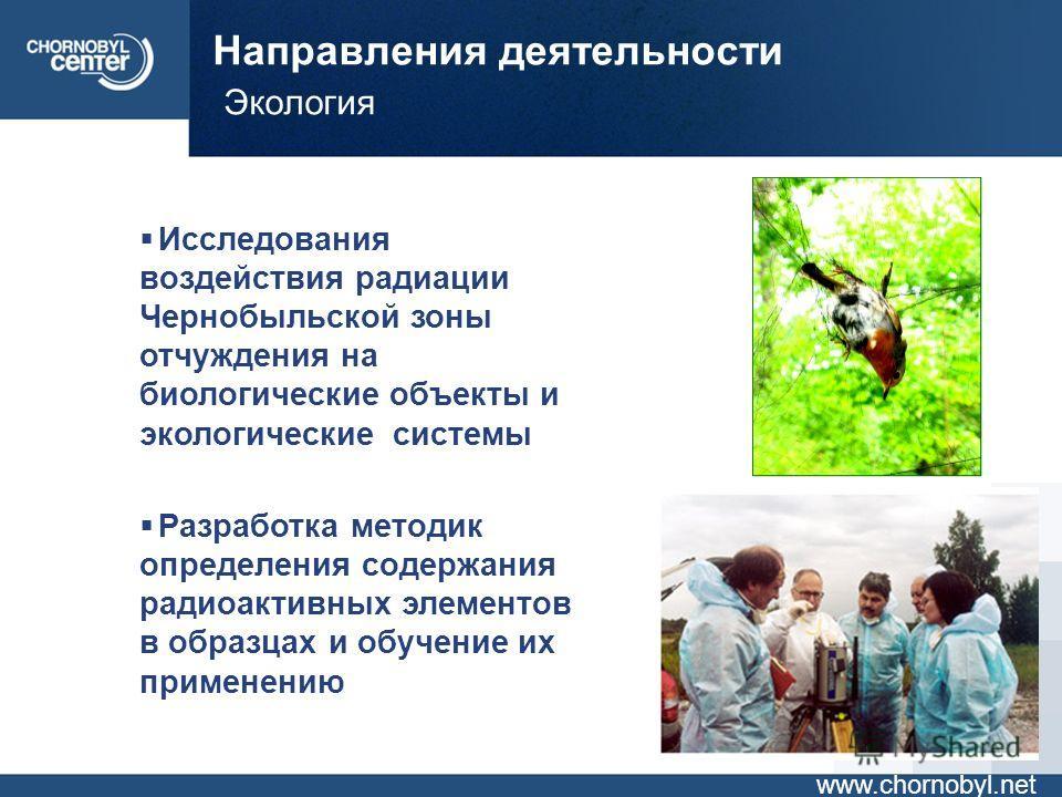 Направления деятельности Экология www.chornobyl.net Исследования воздействия радиации Чернобыльской зоны отчуждения на биологические объекты и экологические системы Разработка методик определения содержания радиоактивных элементов в образцах и обучен