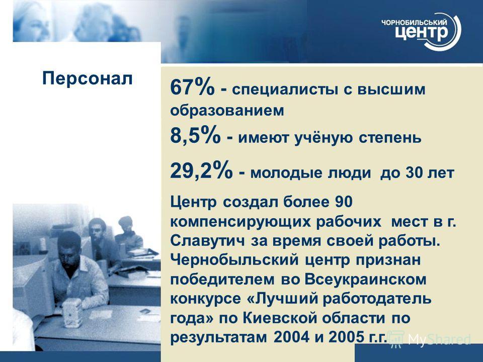 Персонал 67 % - специалисты с высшим образованием 8,5 % - имеют учёную степень 29,2 % - молодые люди до 30 лет Центр создал более 90 компенсирующих рабочих мест в г. Славутич за время своей работы. Чернобыльский центр признан победителем во Всеукраин